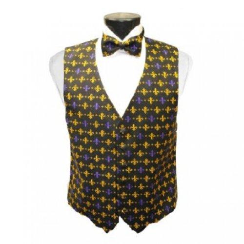 Mardi Gras Fleur de Lis Tuxedo Vest and Bow Tie Size -