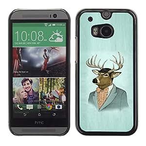 KOKO CASE / HTC One M8 / Retrato del arte de los ciervos traje pintura dibujo del vintage / Delgado Negro Plástico caso cubierta Shell Armor Funda Case Cover