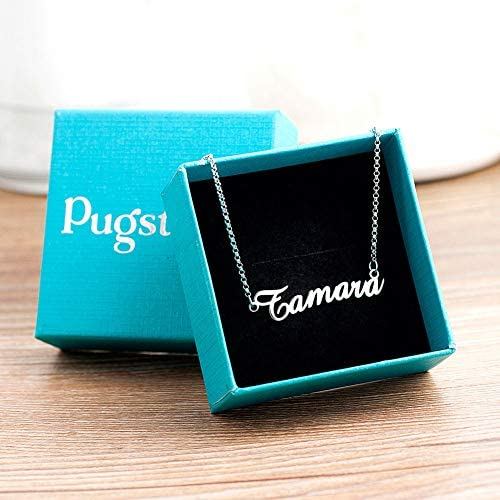 EV.YI Jewels Custom Name Necklace 925 Sterling Silver Personalized Engraved Plate Pendant for Women Mom