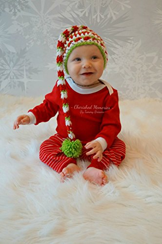 Crochet Baby Hat in Red ,white and green striped long tail pixie hat with Pompom for (Tail Striped Hat)