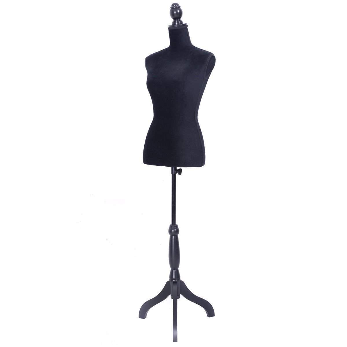 Tobbi Black Female Mannequin Torso Dress Form Display W/Black Tripod Stand