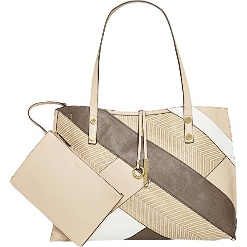 Calvin Klein Unlined Raffia Patchwork Reversible Tote, Wheat Combo by Calvin Klein