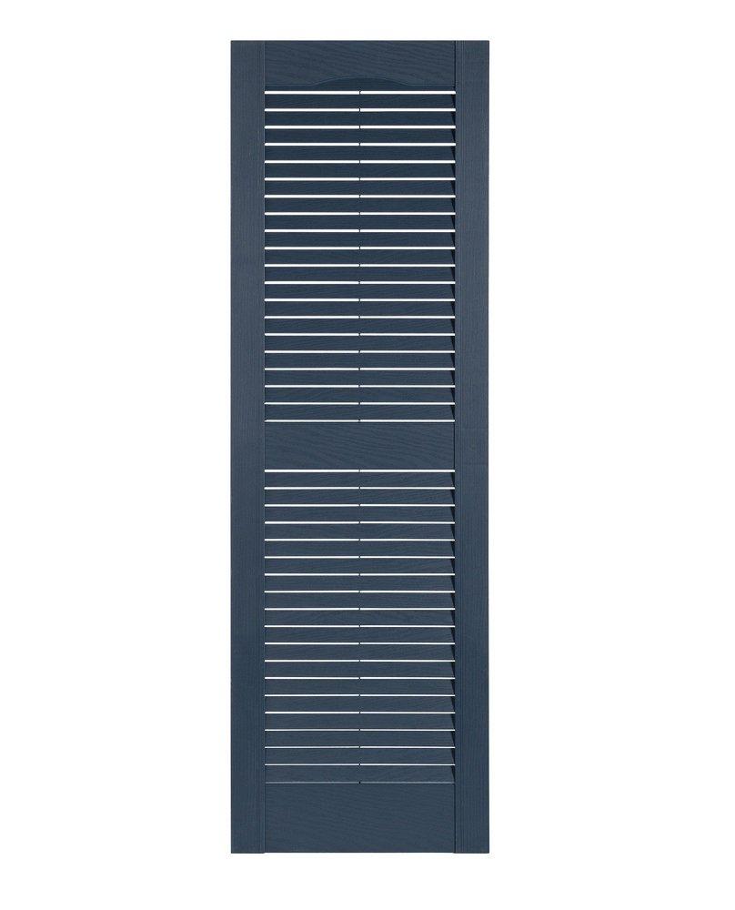 Perfect Shutters Premier Louver Exterior Decorative Shutter, 15'' x 71'', Bedford Blue