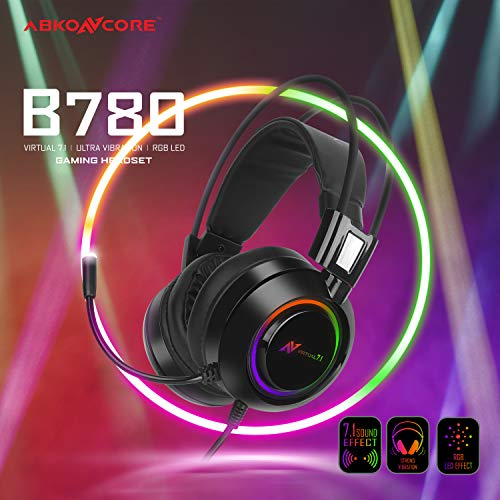 ABKONCORE B780 7.1, Bass Vibration, Gaming Headset for Gaming PC, Gaming Laptop, USB Headset, Noise Cancelling Over Ear Headphones with Flexible Microphone, LED Light, On Ear Controller, Comfortable Earmuffs