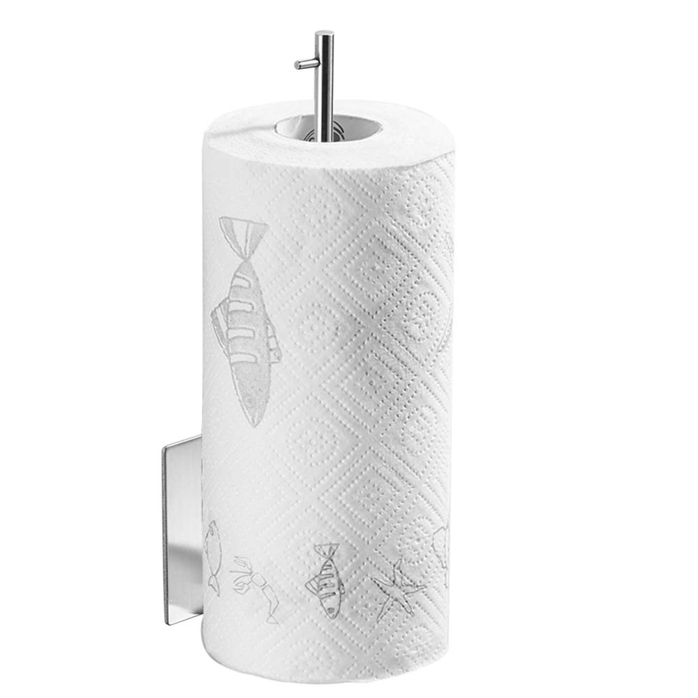 BESy Wall Mount Paper Towel Holder Stainless Steel, 3M Self Adhesive, Kitchen Simply Tear Roll Contemporary Paper Towel Holder Napkin Towel holder, Brushed Nickel Finish