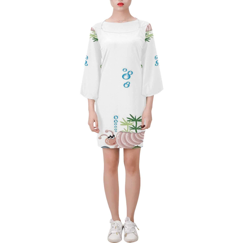 MOOCOM Jellyfish Soft Bell Sleeve Dress,Aquarium with,for Women by MOOCOM