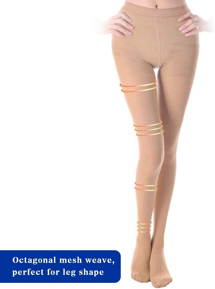 20-30 mmHg Compression Pantyhose for Women /& Men Firm Support Pantyhose Help Relieve Varicose Veins Closed Toe Beige S