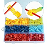 Horloy 240 PCS/120 Pairs T-Tap Wire Terminals Quick Splice Electrical Connectors Self-Stripping and Nylon Fully Insulated Male Spade Disconnect Kit