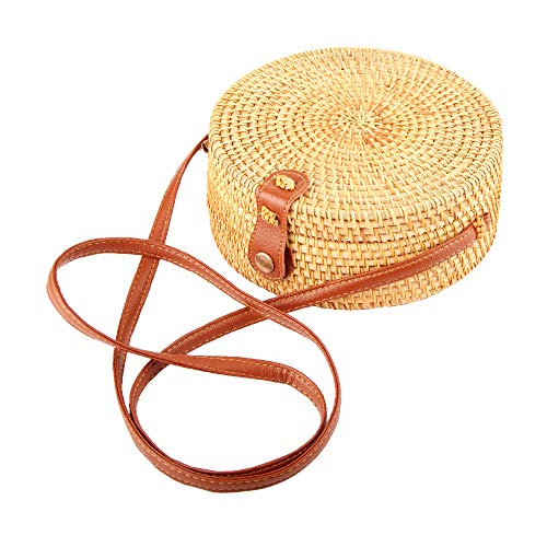 Rattan bag Round Crossbody Woven Bag Bali Beach Circle Tote Bag for Women (Leather buckle 2) (Baskets Indonesian Rattan)