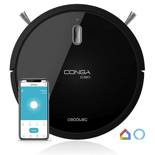 Cecotec Robot Aspirador Conga Serie 1090 Connected. 1400 Pa, Compatible con Alexa y Google Home, Aspira, Barre, Friega y Pasa la Mopa, Cepillo ...