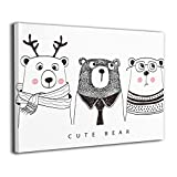 Little Monster Cute Bear Framed and Stretched Printed On Canvas Decorations Modern Art for Boys and Girls Bedroom Bathroom