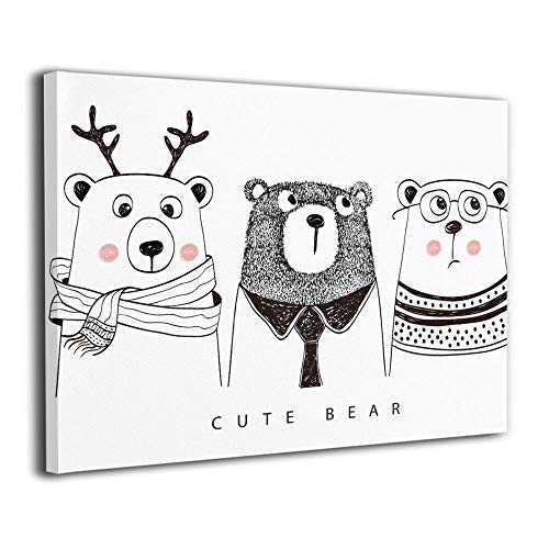 Little Monster Cute Bear Framed and Stretched Printed On Canvas Decorations Modern Art for Boys and Girls Bedroom Bathroom by Little Monster