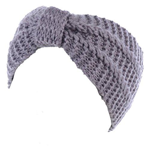 BYOS WomensWinter Fashion Cute Bow Crochet Knit Headband (Acrylic Knit Headband)