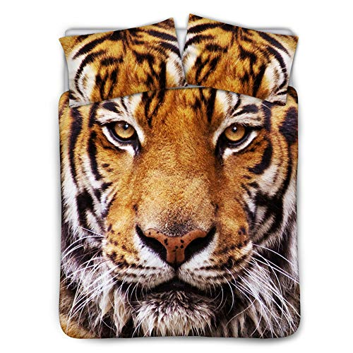UNICEU Home 3D Bedding Set Tiger Print Bedspreads for Teens Boys and Girls 2 Pillow Shams 1 Duvet Cover Ultra Soft Bedclothes (King, Beige) ()