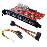 PC Hardware : Inateck Superspeed 7 Ports PCI-E to USB 3.0 Expansion Card - 5 USB 3.0 Ports and 2 Rear USB 3.0 Ports Express Card Desktop with 15 Pin SATA Power Connector, Including Two Power Cables (KT5002)
