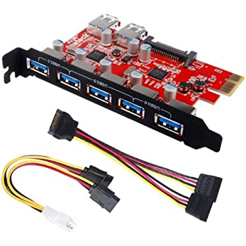 Inateck Superspeed 7 Ports PCI-E to USB 3.0 Expansion Card - 5 USB 3.0 Ports and 2 Rear USB 3.0 Ports Express Card Desktop with 15 Pin SATA Power Connector, Including Two Power Cables-KT5002