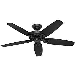 Hunter Indoor / Outdoor Ceiling Fan, with pull chain control - Builder Elite 52 inch, Black, 53294