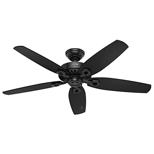 Hunter Indoor Outdoor Ceiling Fan, with pull chain control – Builder Elite 52 inch, Black, 53294