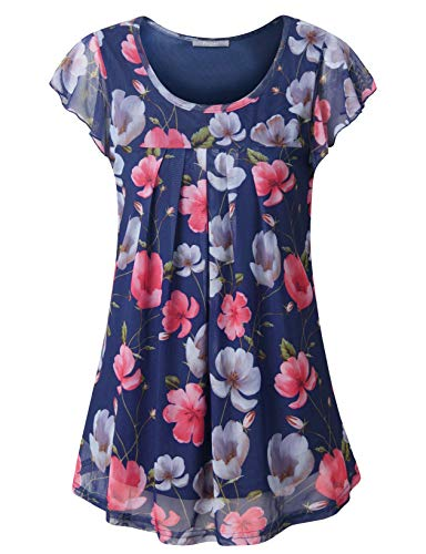 (Furnex Floral Blouse, Summer Work Tops for Women Ruffle Sleeve Dressy Long Cute Tank Tops Lightweight Tunic Shirts Round Neckline Loose and Fit T-Shirt Tops for Casual Blue X-Large)