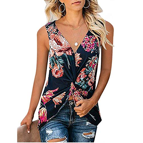 (HebeTop Womens Ruched Floral Print Cowl Neck Tank Tops Sleeveless Stretch Blouse Black)
