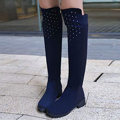 Cuissardes Automne Femmes Chaussures Bottes Bleu Talon Misakinsa Bas qwxIEXHnCB