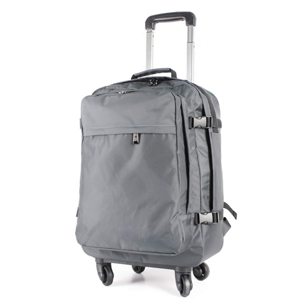 LISH トロリーバッグ、ハンドバッグ、リュックサック、スーツケース、荷物預かり袋、防水、日焼け止め、サイレントキャスター - キャリー、大人、学生 (色 : Silver-B)  Silver-B B07L3F3PHQ