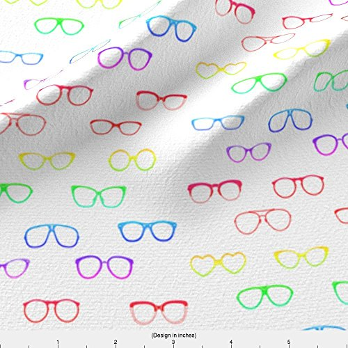 Glasses Fabric Glasses (Rainbow Variant) by Mmarie-Designs Printed on Modern Jersey Fabric by the Yard by - Spectacle Frames Modern