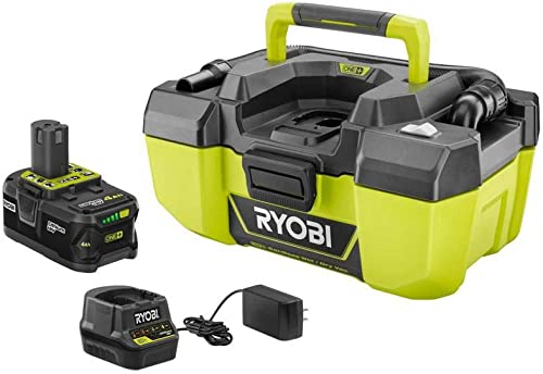 RYOBI 18-Volt ONE Lithium-Ion Cordless 3 Gal. Project Wet Dry Vacuum with Acessory Storage, 4.0 Ah Battery and Charger