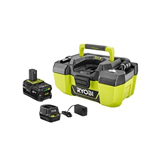 RYOBI 18-Volt ONE + Lithium-Ion Cordless 3 Gal. Project Wet/Dry Vacuum with Acessory Storage, 4.0 Ah Battery and Charger