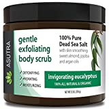 "ORGANIC Exfoliating Body Scrub - ""INVIGORATING EUCALYPTUS"" - 100% Pure Dead Sea Salt Scrub / Ultra Hydrating & Moisturizing with SKIN SMOOTHING Jojoba, Sweet Almond & Argan Oils - 12oz"