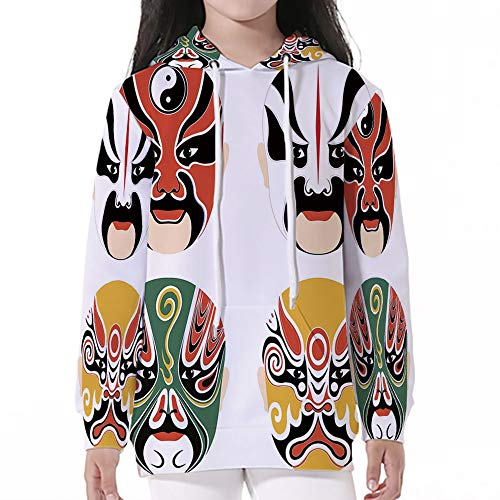 Kid Nation Kids' Sweater Long Sleeve,Kabuki Mask Decoration,Cultural Drama Costu