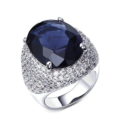 Leash Spinner Black Diamond - Daesar Gold Plated Rings Womens Engagement Rings Silver Rings rtificial Sapphire Size 9