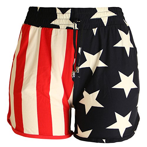 Flag Running Shorts - ARACCIUS 4th Of July Women's Summer Casual American Flag Printed Shorts - NDSF173, L/XL
