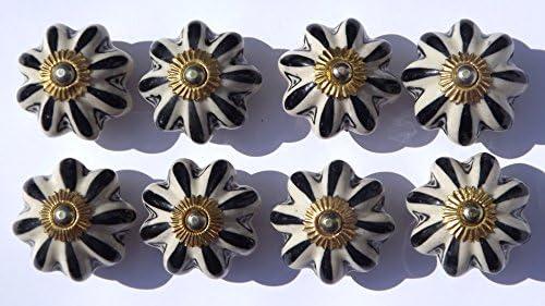 8x Blanc Antique Grande Fleur avec pétales Noir (Fixations en laiton) Poignée de porte de placard en céramique poignée de tiroir Style shabby chic en porcelaine