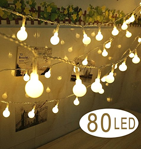 30' String (80 LED Globe String Lights- 30 feet Battery Operated Globe Fairy Light - Perfect for Indoor, Outdoor, Garden, Chrismas Tree, Party, Festival, Wedding Decoration)