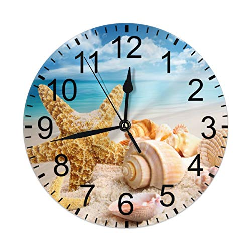 CCshopping Starfish Seashells on The Ocean Beach Blue Sky 9.8 inches Round Wall Clock Silent Non Ticking, Battery Operated Wall Clocks