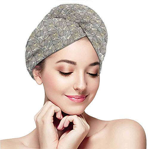 Dry hair towel wrap towel headband dry hair cap bath towel hot spring,Beige,Autumn Leaves Pattern -