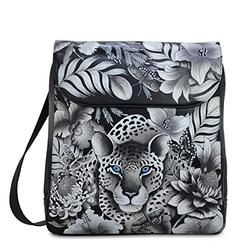 Anuschka Women's Genuine Leather Large Convertible Flap Backpack | Hand Painted Original Artwork | Cleopatra's Leopard