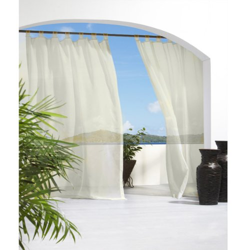 Ivory Escape Velcro Tab Top Indoor-outdoor Curtain Panel 84