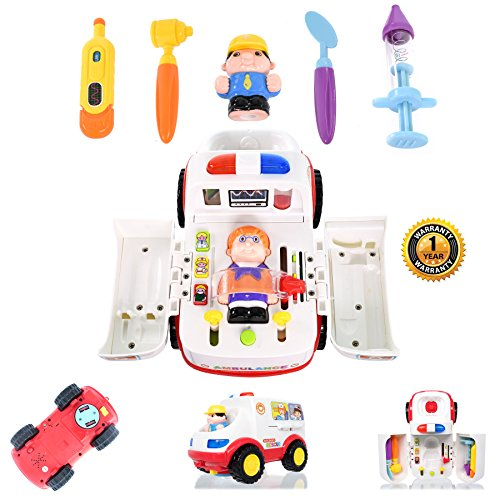 Play Basics Ambulance Toy Doctor Kit Pretend Doctor Set and Medical Kit Inside Bump & Go Toy Car with Lights and Sounds; Enhance Your Child's Pretend Play with This Doctor Toy Play Set Today! -
