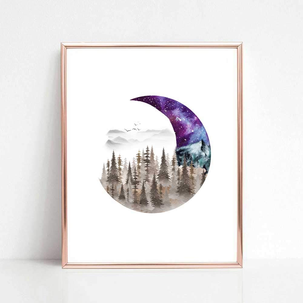 Moon Creative Art Print Forest Space Galaxy Watercolor Painting Unique Art Gift Home Wall Decor 8x10 inch No Frame