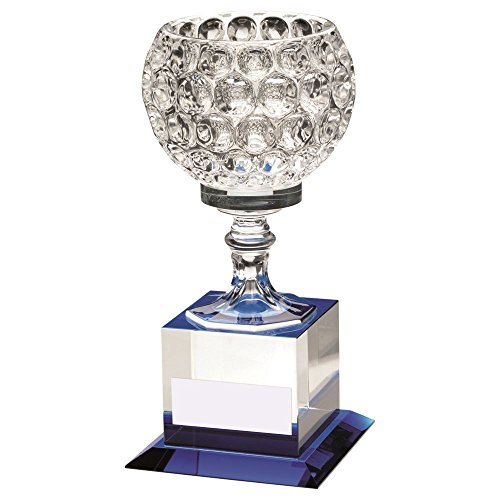 Lapal Dimension CLEAR/BLUE GLASS GOBLET ON BLOCK BASE TROPHY - - Goblet Glass 8.5