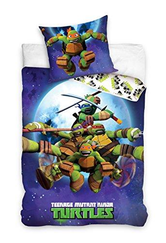 Tortrues Ninja parure 100% Coton linge de lit réversible housse de couette 160x200 + Taie d'oreiller 70x80 Turtles Ninja Bleu