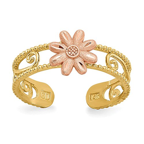 (14k Yellow Gold Two Tone Flower Adjustable Cute Toe Ring Set Fine Jewelry Gifts For Women For Her)