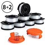 X Home Weed Eater Replacement Spools Compatible with Black+Decker AF-100 LST420 GH900 String Trimmer Spools Refills Line Edger Auto Feed 30ft 0.065' with RC-100-P Covers (8 Spools, 2 Cap, 2 Spring)