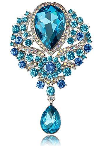 Gyn&Joy Women's Vintage Style Austrian Crystal Flower Teardrop Lake Blue Gorgeous Brooch Pin BZ061 (Austrian Crystal Heart Brooch)