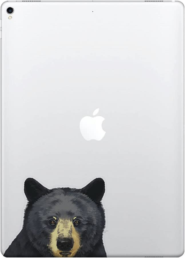 FINCIBO 5 x 5 inch Black Bear Removable Vinyl Decal Stickers for iPad MacBook Laptop (Or Any Flat Surface)