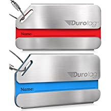 Luggage Tags Durable Stainless Steel, Secure Personalized Travel Bag ID - 2 Pack