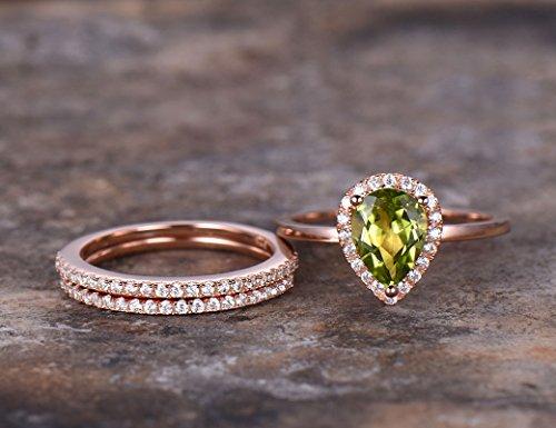 3pcs pear peridot wedding ring set,green gem Engagement ring,rose gold plated,925 sterling silver stacking Bridal ringThin matching band,Man Made diamond CZ ring,any size