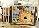 NAUGHTYBOSS Boy Baby Bedding Set Cotton 3D Embroidery Africa Lion Pattern Quilt Bumper Bedskirt Mattress Cover 7 Pieces Set Yellow Color